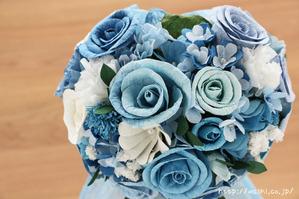 結婚式のサプライズプレゼント!サムシングブルーの和紙ブーケ・花束(上から)