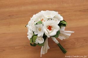 結婚1周年紙婚式プレゼント−フレンチマリアンヌの和紙花ブーケ (全体)
