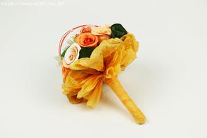 和紙専門店の和紙ブーケ(オレンジ)花束