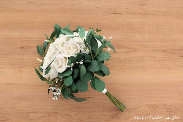 結婚1周年の紙婚式プレゼントに和紙ペーパーフラワーブーケ(ホワイト&グリーン)