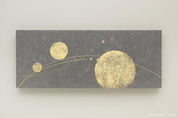 ちりめん玉飾りと鶴亀の結納品リメイクアートパネル (黒ベンガラ和紙を使用したパネル部分)