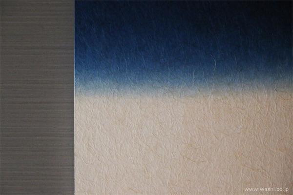 ゆるやかな時間を過ごせる 群青色の和紙アートパネル−Washi(Japanese Paper) Modern Wall Art Panel (弥生の間、パネルデザインアップ)