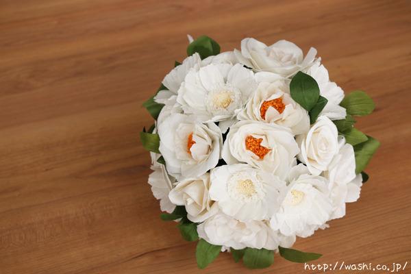 結婚1周年紙婚式プレゼント−フレンチマリアンヌの和紙花ブーケ (斜め上)