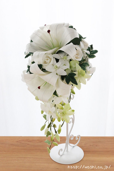 紙婚式・結婚記念日の和紙の花束ペーパーフラワーブーケ(カサブランカ・デンファレ)正面