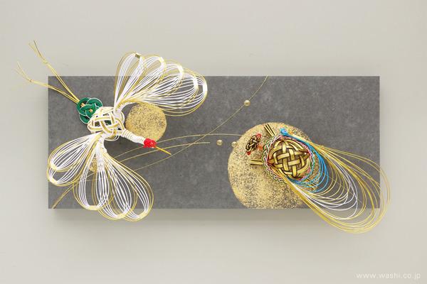ちりめん玉飾りと鶴亀の結納品リメイクアートパネル (鶴亀水引飾り)