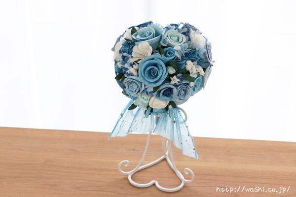 結婚式のサプライズプレゼント!サムシングブルーの和紙ブーケ・花束(正面)