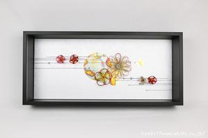 可愛らしい花の水引飾りレイアウト例(結納水引リメイク額)
