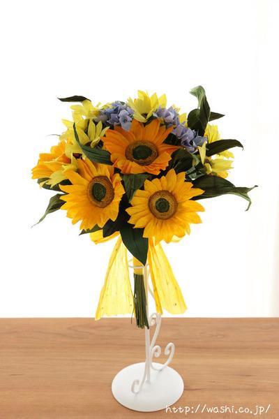 結婚記念日・紙婚式オーダーメイド。ひまわりの和紙花束オーダーメイド品(正面)