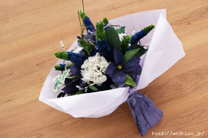 結婚記念日・紙婚式のプレゼント。ベロニカとアイビーの和紙の花束(ペーパーフラワーブーケ)ラッピング