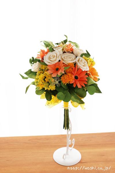 退職祝いのプレゼント。オーダーメイドの和紙ブーケ(花束)正面