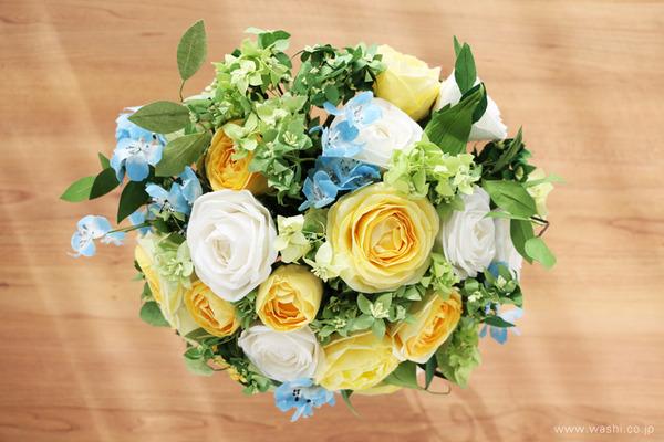 和紙の花オーダー品・ご結婚1周年記念に再現ブーケのプレゼント (真上)