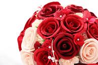 和紙の花(結婚1周年の紙婚式や、プロポーズプレゼントに最適な受注生産品の和紙ラウンドブーケ・花束)レッド、アップ