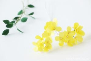 菜の花とバラの和紙の花束・ブーケ(結婚記念日・紙婚式のプレゼント)花パーツ
