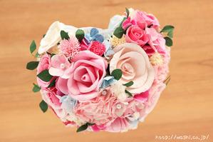 結婚1周年の紙婚式プレゼント。ハート形の和紙ブーケ (4)
