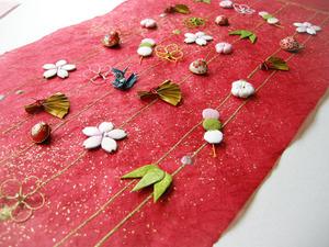 桜や団子などは、ふっくら仕上げました(創作和紙)