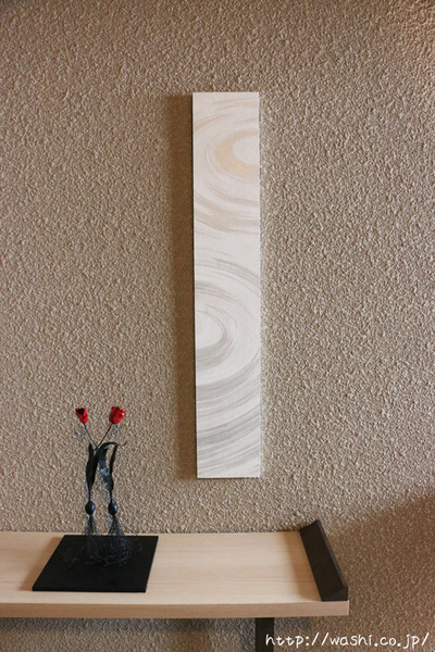washi art panel 水の波紋柄の和紙インテリアアートパネル(正面)