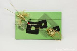 結納品リメイク事例|グリーン色のリメイクパネル (2)
