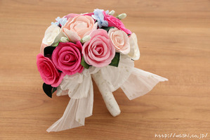 初めての結婚記念日「紙婚式」に贈る、ピンク系バラの和紙ブーケ・花束 (3)