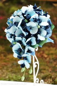 結婚1周年記念日和紙ブーケ(青い胡蝶蘭・薔薇) (1)