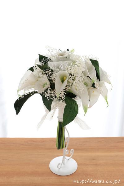 紙婚式・結婚記念日ギフト−白基調のカラー&ガーベラ和紙ブーケ (正面)
