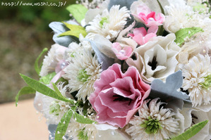 広島県のS様 紙婚式の特注和紙ラウンドブーケ・花束 (2)