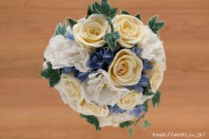 結婚1周年の紙婚式プレゼント。トルコ桔梗とアイビーの和紙ブーケ (上部)