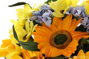 結婚記念日・紙婚式オーダーメイド。ひまわりの和紙花束オーダーメイド品(アップ)