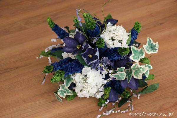 結婚記念日・紙婚式のプレゼント。ベロニカとアイビーの和紙の花束(ペーパーフラワーブーケ)