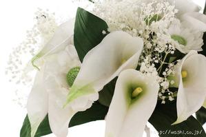 紙婚式・結婚記念日ギフト−白基調のカラー&ガーベラ和紙ブーケ (カラー花アップ)