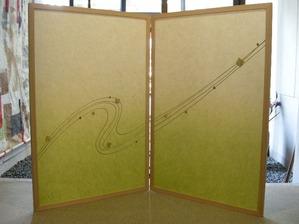 結納水引飾りのリメイク屏風(水引無し、緑)