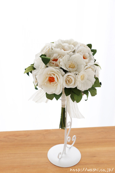 結婚1周年紙婚式プレゼント−フレンチマリアンヌの和紙花ブーケ (正面)