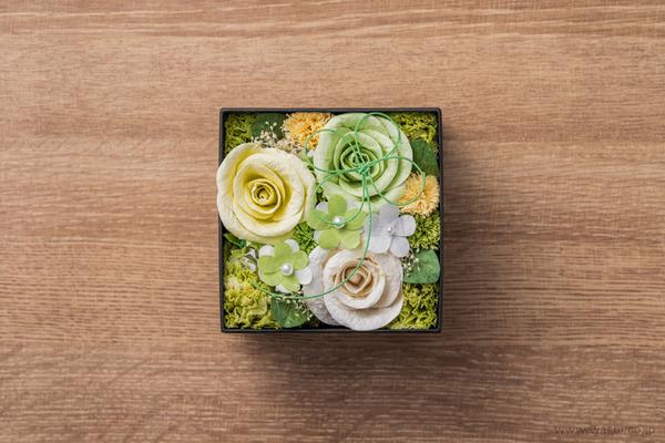 和紙の花‐Washi Flower Box オリジナルフラワーボックス新作・新色入荷 (グリーン&ホワイト)