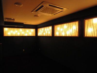 竹の桟が入った照明(創作インテリア和紙)