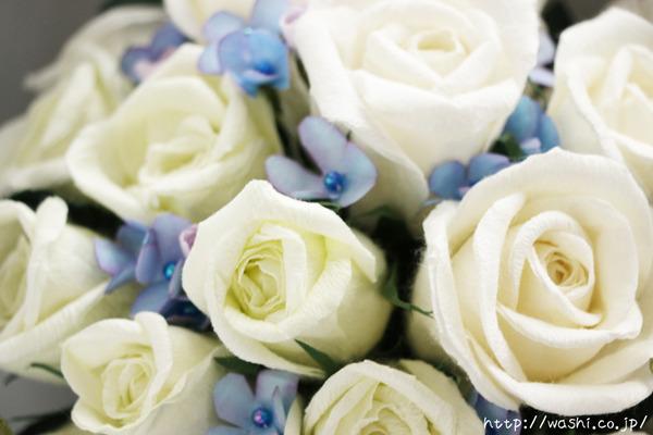 和紙の花ペーパーフラワーで、痛んだ結婚式のプリザーブドフラワーを元の美しい姿に再現。3Dフレーム・立体額 (アップ)