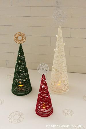 (飾り付けたクリスマスツリー&オーナメント)紙糸を使ったクリスマスオーナメント作り