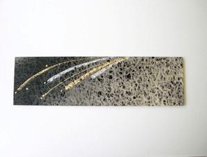 墨染めの落水紙に金銀箔などでデザインしたインテリア和紙アートパネル