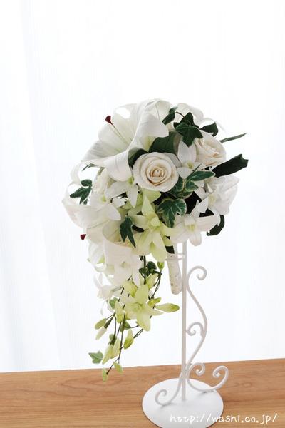 紙婚式・結婚記念日の和紙の花束ペーパーフラワーブーケ(カサブランカ・デンファレ)真横
