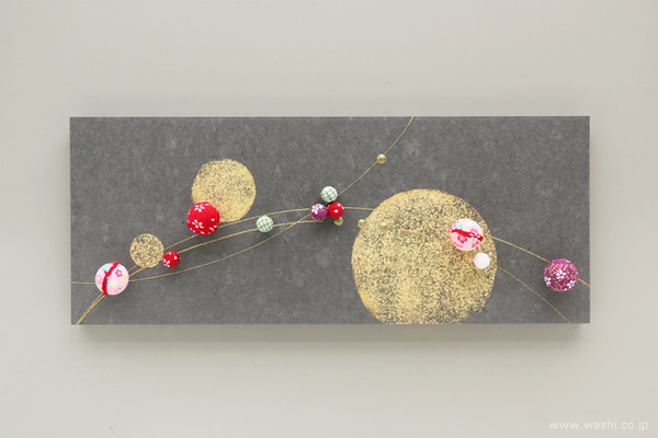 ちりめん玉飾りと鶴亀の結納品リメイクアートパネル (大小様々なちりめん玉)