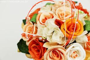 和紙専門店の和紙ブーケ(オレンジ)花束アップ
