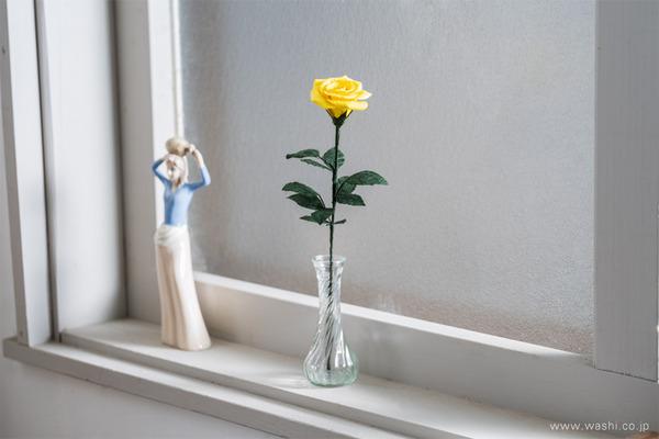 特別な結婚記念日に「和紙製一輪のバラ」Newバージョン新入荷 (インテリアフラワーとしてもおすすめ)
