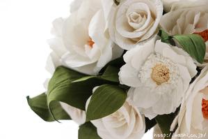 結婚1周年紙婚式プレゼント−フレンチマリアンヌの和紙花ブーケ (花部アップ)