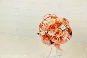 元気みなぎるオレンジ色の和紙製ブーケ・花束(結婚1周年の紙婚式プレゼント)