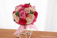 和紙の花(結婚1周年の紙婚式や、プロポーズプレゼントに最適な受注生産品の和紙ラウンドブーケ・花束)ピンク、正面