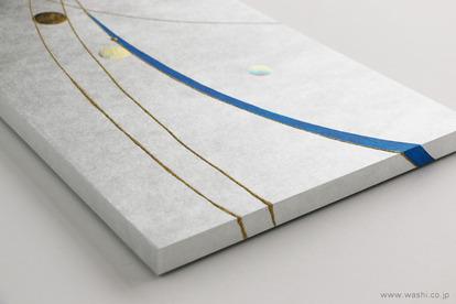 かたちを変えて新たな思い出に。3種類の結納品リメイクパネル (爽やかな銀と青のデザインパネル フチ部分)