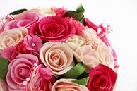 和紙の花(結婚1周年の紙婚式や、プロポーズプレゼントに最適な受注生産品の和紙ラウンドブーケ・花束)ピンク、アップ