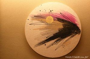 四季をイメージした和紙の円形インテリアアートパネル (春)