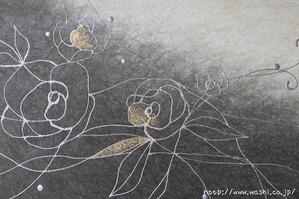 墨染めグラデーション×薔薇デザインの和紙アートパネル (2)