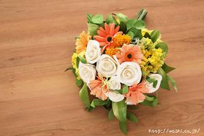 退職祝いのプレゼント。オーダーメイドの和紙ブーケ(花束)斜め上から