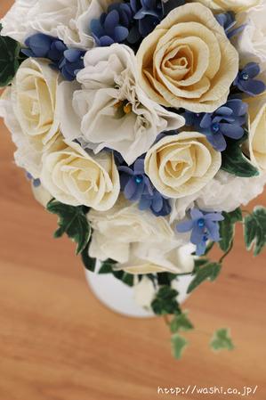 結婚1周年の紙婚式プレゼント。トルコ桔梗とアイビーの和紙ブーケ (ブルースター)