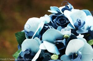 結婚1周年記念日和紙ブーケ(青い胡蝶蘭・薔薇) (3)